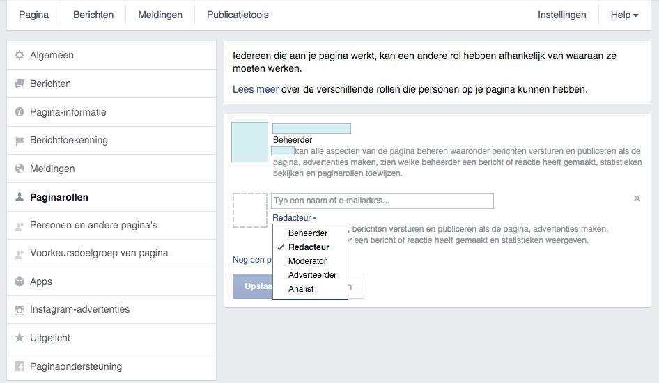 beheerder toevoegen facebook