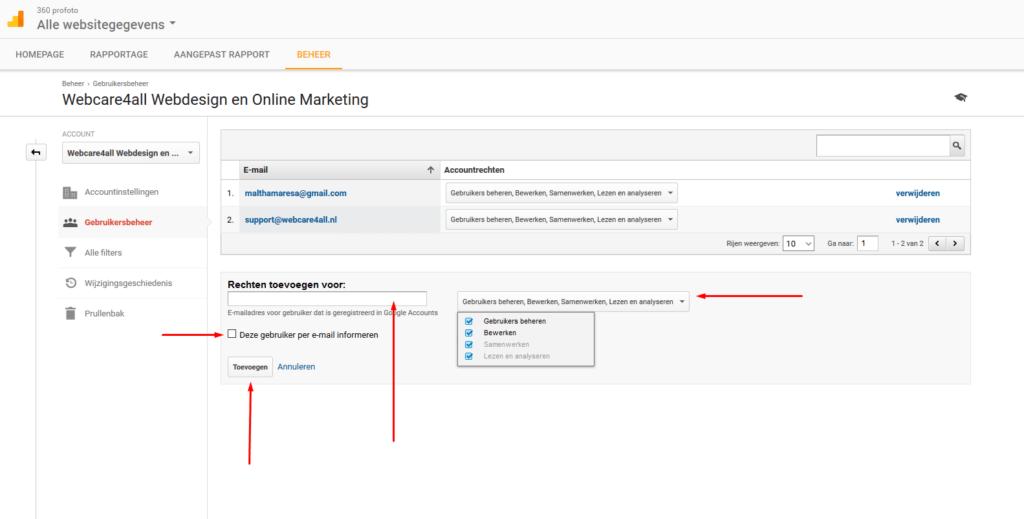 gebruiker toevoegen Google Analytics stap 1