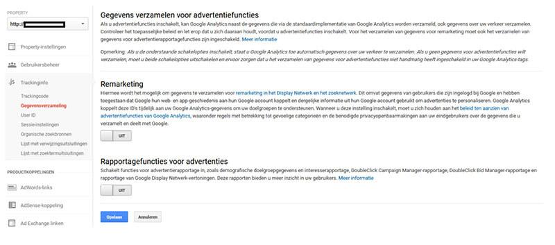 Gegevens delen met Google voor advertentiedoeleinden uitzetten