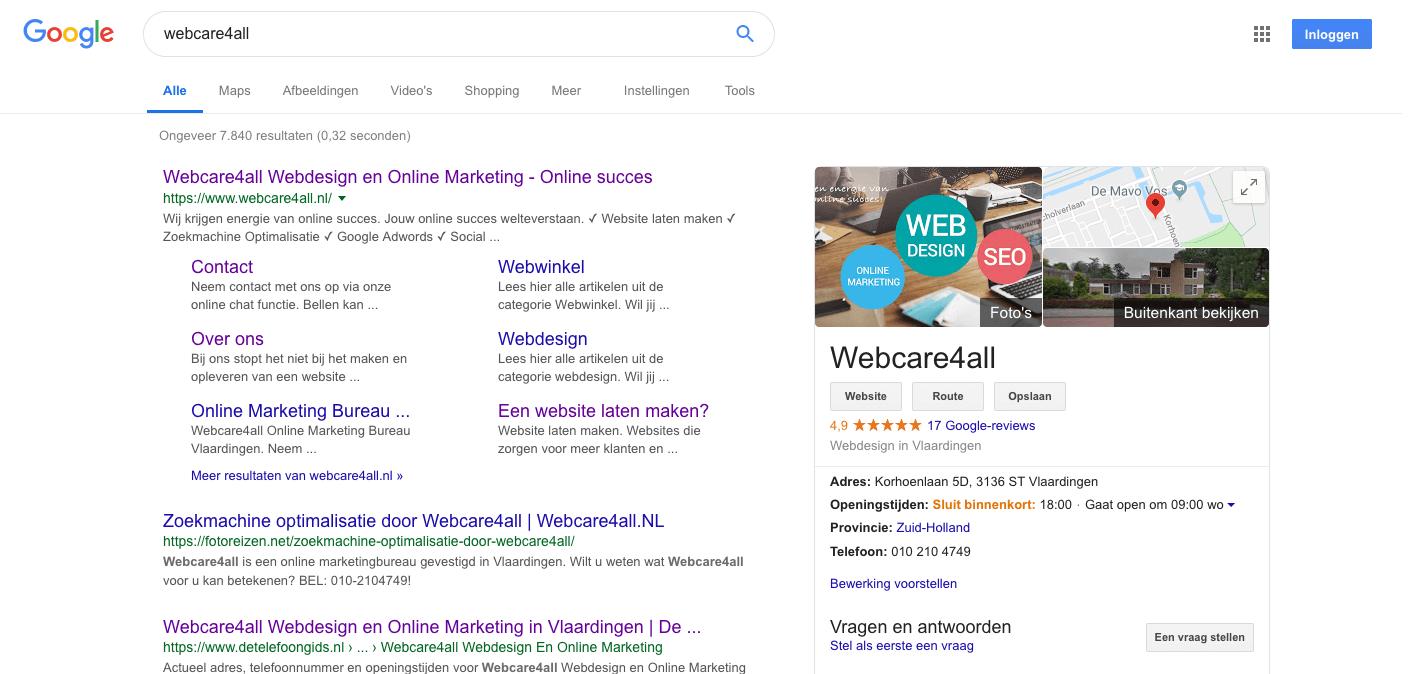 google-mijn-bedrijf-webcare4all